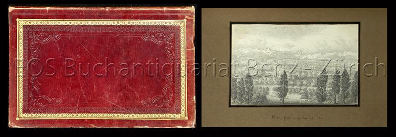 -Album mit insgesamt 30 gezeichneten Ansichten (meist ca. 12 x 19 cm), auf grauem Papier montiert.