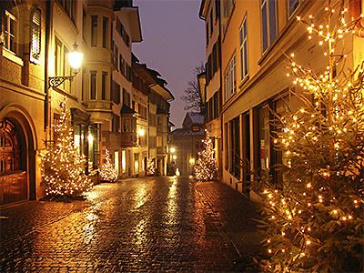 Kirchgasse in Zürich im Dezember